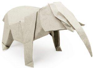 Origami gray elephant